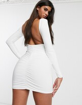 Club L London open back midi bodycon dress with ruching in white