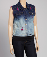 Dark Indigo & Purple Ombré Denim Vest - Plus