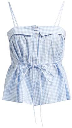 Mes Demoiselles Tropizienne Gingham-cotton Top - Womens - Blue White
