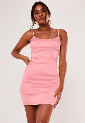 Missguided Pink Stretch Satin Bodycon Mini Dress