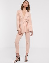 Asos Design DESIGN jersey slim split front suit trousers in blush