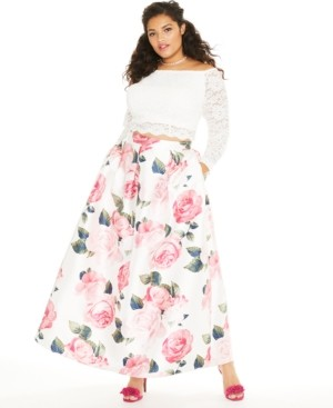 Teeze Me Trendy Plus Size 2-Pc. Off-The-Shoulder Lace & Floral Gown, Created for Macy's