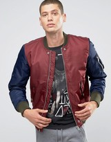 Diesel W-To Nylon Bomber Jacket Contrast Sleeves