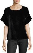 AG Jeans Clara Scoop-Neck Flutter-Sleeve Velvet Top