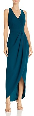 Avery G Faux-Wrap Crepe Gown