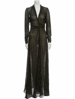 Lanvin Printed Long Dress w/ Tags Black