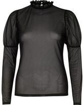 River Island Womens Black sheer mesh puff sleeve top