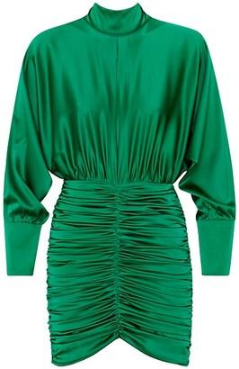 retrofete Ruched Stretch-Silk Mini Dress