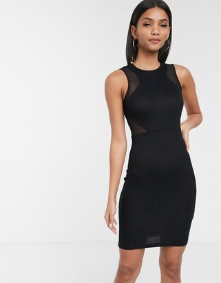 French Connection Manhattan mesh panelled dress-Black