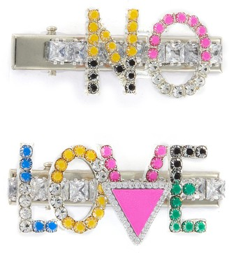 Venna Multi-colour Crystal Embellished No Love Hair Clips