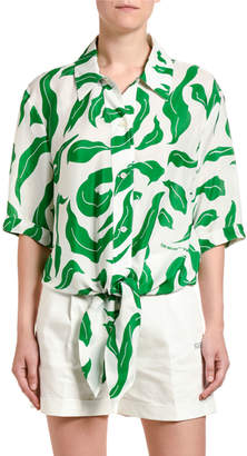 Off-White Leaf Print Satin Baseball-Knotted Shirt