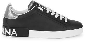 Dolce & Gabbana Portofino black leather sneakers