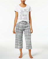 Hue Graphic-Print Top and Printed Capri Pants Knit Pajama Set