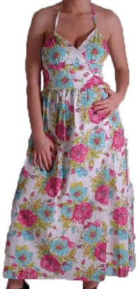 EyeCatchClothing - Viola Cotton Floral Print Maxi Dress M/L