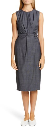 Lafayette 148 New York Jude Belted Faux Wrap Wool Blend Dress