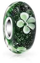Bling Jewelry Green White Murano Glass Lampwork Floral Charm Bead .925 Sterling Silver.