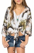 O'Neill Girl's Palm Print Tie Front Top