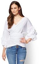 New York & Co. 7th Avenue - Ruffle-Sleeve Wrap Shirt