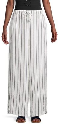 DKNY Striped Wide-Leg Pants