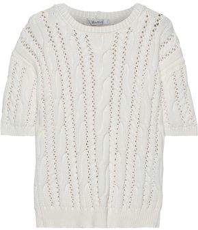 Max Mara Vik Pointelle-trimmed Cable-knit Cotton-blend Sweater