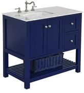"Three Posts Chertsey Open Cabinet 36"" Single Bathroom Vanity Set Base Finish: Royal Blue, Top Finish: Carrara Marble"