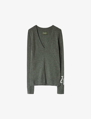 Zadig & Voltaire Sourca logo-sleeve cashmere and wool-blend jumper