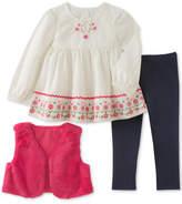 Kids Headquarters 3-Pc. Faux-Fur Vest, Embroidered Tunic & Denim Leggings Set, Little Girls (4-6X)