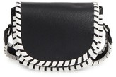 French Connection Small Claudia Whipstitch Faux Leather Saddle Bag - Black
