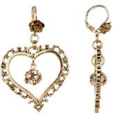 Betsey Johnson Crystal Gold Heart Orbit Earrings