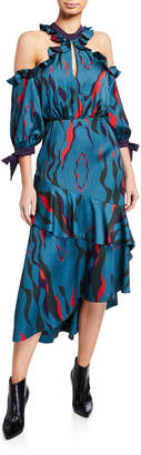 Three floor Corsica Printed Cold-Shoulder Tiered Ruffle Dress