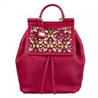 Dolce & Gabbana Sicily Pink Leather Backpacks