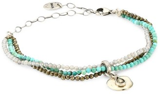 Chan Luu Mixed Turquoise 3-Strand Beaded Wrap Bracelet