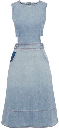 Current/Elliott The Braided Nightfall Cutout Faded Denim Dress