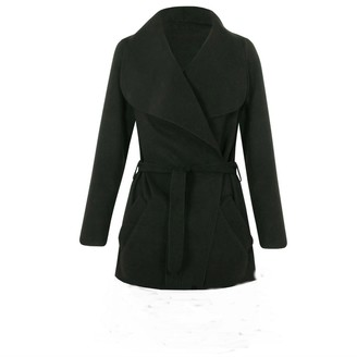 Miss Trendy Ladies Waterfall Belt Jacket Draped Women's Cardigan Trench Coat (ONE Size (UK Size 8-14)