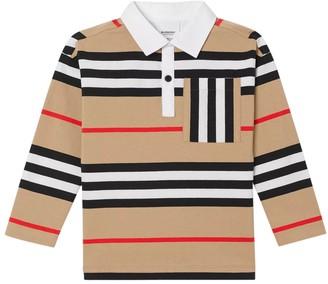 Burberry Kids Beige Stripe Print Polo Shirt