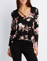 Charlotte Russe Floral Strappy Surplice Top