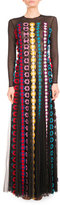 Mary Katrantzou Daisy-Appliqué Long-Sleeve Gown, Black/Multi