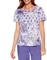 Alfred Dunner Cyprus Short-Sleeve Paisley Print Top