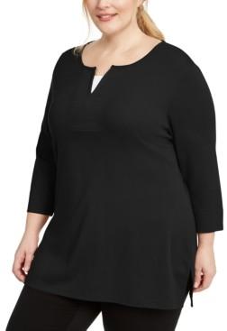 Karen Scott Plus Size Layered-Look Split-Neck Top, Created for Macy's