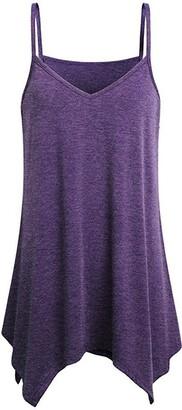 Zyolan Vest Women Irregular Summer Loose V Neck Cami Tank Tops Vest Blouse