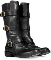 Fiorentini & Baker Black Leather Buckled Strap Boots