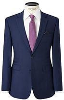 John Lewis Semi Plain Super 100s Wool Travel Suit Jacket, Bright Blue