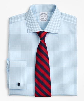 Brooks Brothers Stretch Regent Fitted Dress Shirt, Non-Iron Poplin English Collar French Cuff Gingham