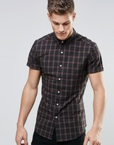 Asos Skinny Shirt In Camel Grid Check With Short Sleeves