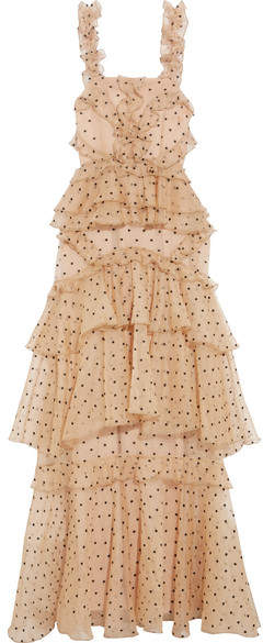 Alice McCall Yoko Ruffled Tiered Swiss-dot Silk-organza Gown - Beige