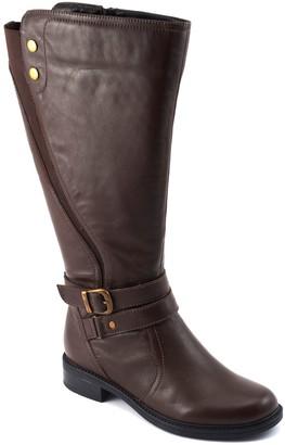 David Tate Adjustable-Strap Wide-Calf Leather Boots - Saratoga