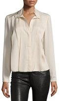 Halston Pleated Long-Sleeve Blouse, Buffs