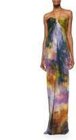 Kaufman Franco Sleeveless Halter-Neck Gown, Multi Colors