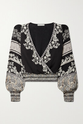 Alice + Olivia - Catherine Cropped Wrap-effect Floral-print Crepe Top - Black