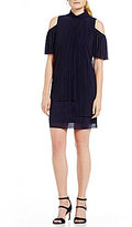 London Times Cold-Shoulder Crinkle Mesh Dress